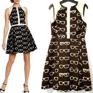 Anthro Eva Franco Addison Dress - Glasses Print